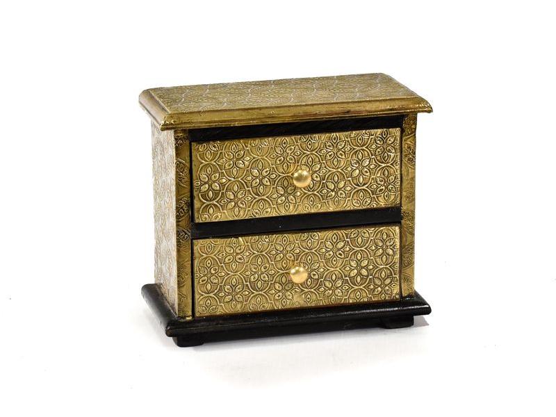 Dřevěná skříňka s mosazným kováním, 2 šuplíky, 20x10x18m