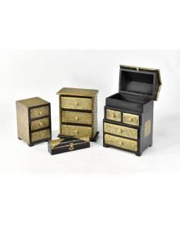 Dřevěná sříňka s mosazným kováním, 3 šuplíky, 13x13x20cm