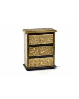 Dřevěná skříňka s mosazným kováním, 3 šuplíky, 20x10x25m