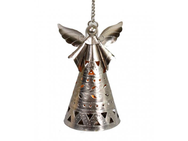 Anděl, závěsný kovový svícen, ruční práce, prořezávané ornamenty, výš. 19cm