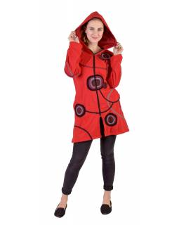 Prodloužená červená mikina s kapucí zapínaná na zip, mandala potisk