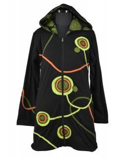 Prodloužená černo-zelená mikina s kapucí zapínaná na zip, mandala potisk