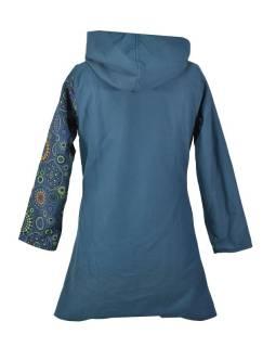 Petrolejový kabát s kapucí zapínaný na zip, potisk mandal, kapsy