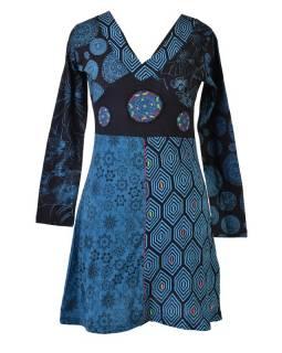 Černo-tyrkysové šaty s dlouhým rukávem, mix potisků, mandala aplikace, výšivka