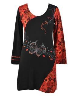 Krátké čermo-červené šaty s dlouhým rukávem, Butterfly design, výšivka