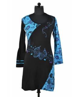 Krátké čermo-tyrkysové šaty s dlouhým rukávem, Butterfly design, výšivka