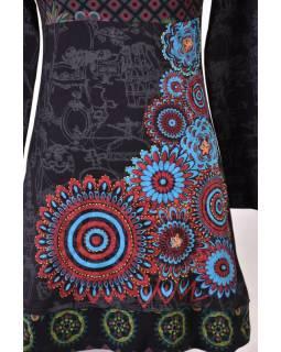 Krátké černé šaty s celotiskem a dlouhým rukávem, Mandala print, ruční výšivka
