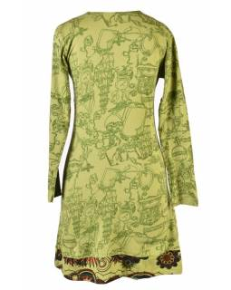 Krátké zelené šaty s celotiskem a dlouhým rukávem, Mandala print, ruční výšivka