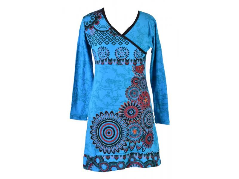 Krátké tyrkysové šaty s celotiskem a dlouhým rukávem, Mandala print, ruční výšiv
