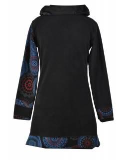 Černo-modré zimní mikinové šaty s límečkem, Mandala potisk