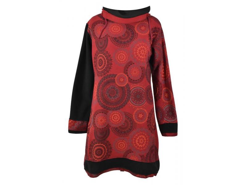 Vínové zimní mikinové šaty s límečkem, Mandala potisk