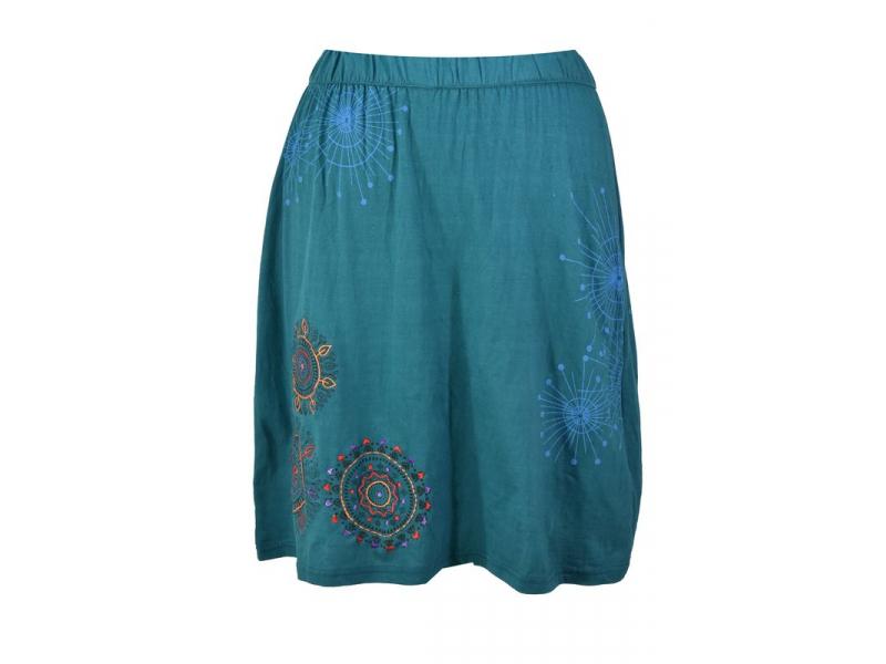 Krátká petrolejová sukně s potiskem a barevnou výšivkou, elastický pas