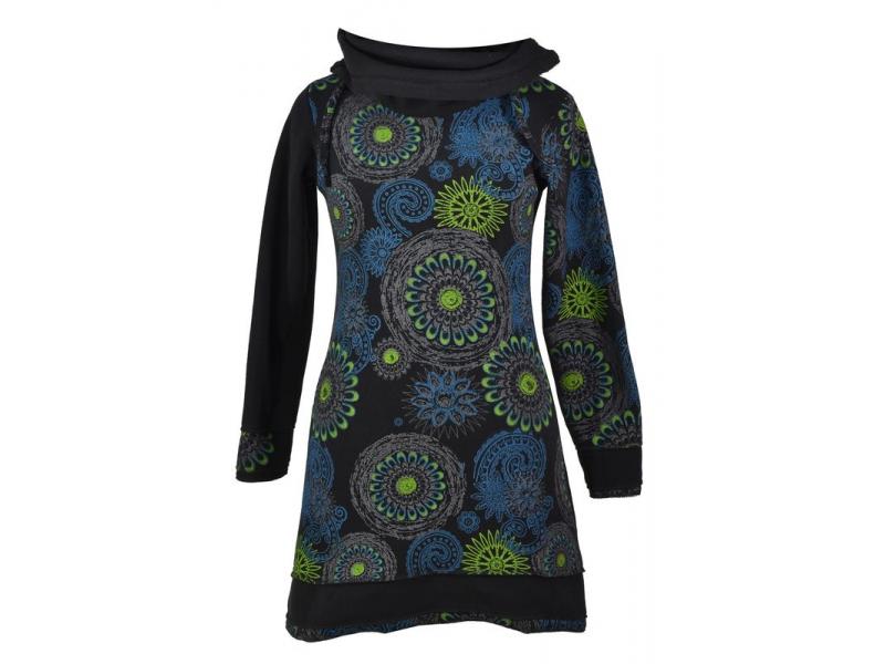 Černo-zelené zimní mikinové šaty s límečkem, Mandala potisk