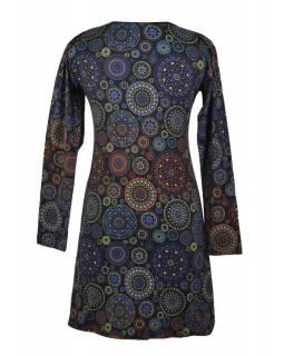 Krátké černé šaty s potiskem Mandal a dlouhým rukávem, kulatý výstřih