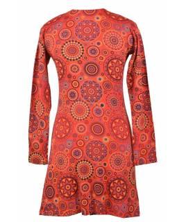 Krátké červené šaty s potiskem Mandal a dlouhým rukávem, kulatý výstřih