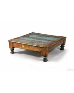 Čajový stolek z teakového dřeva, antik, tyrkysová patina, 57x57x19cm