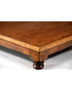 Čajový stolek z teakového dřeva, antik, 61x61x15cm