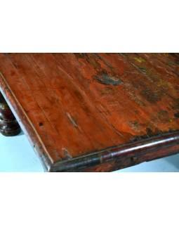 Čajový stolek z teakového dřeva, antik, červená patina, 55x55x28cm