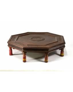 Stolek osmiboký, teakové dřevo pobitý plechem, antik, 63x63x17cm