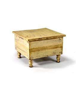 Stolek z teakového dřeva, antik, bílá patina, 45x45x32cm