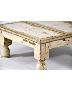 Čajový stolek z teakového dřeva, antik, bílá patina, 48x48x23cm