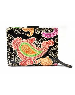 """Kožená peněženka """"Paisley design"""", černá, ručně malovaná, 13x10cm"""