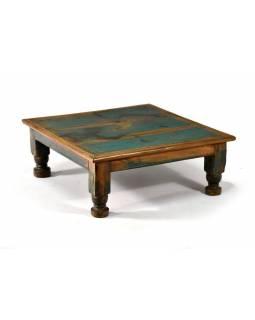Čajový stolek z teakového dřeva, antik, zelená patina, 45x45x18cm