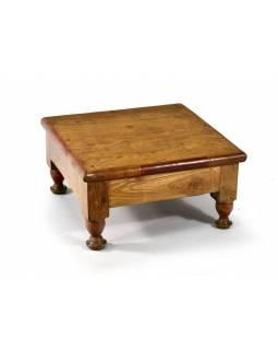 Čajový stolek z teakového dřeva, antik, 39x39x20cm