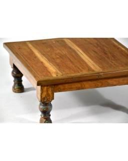 Čajový stolek z teakového dřeva, antik, 40x40x18cm