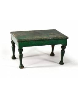 Čajový stolek z teakového dřeva, pobitý plechem, antik, zelená patina,31x42x24cm