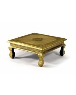 Čajový stolek zdobený mosazným kováním, mangové dřevo, 41x41x19xm