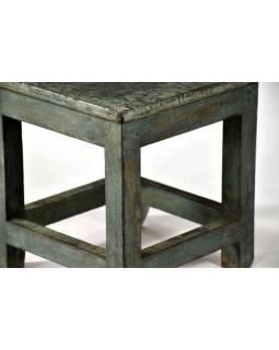 Stolička z antik teakového dřeva, tyrkysová patina, 30x30x30cm