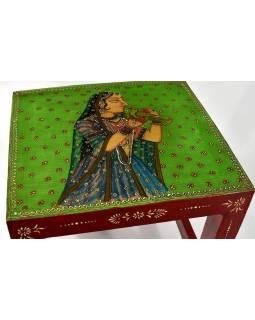 """Stolička z antik teakového dřeva, """"Moghul art"""", ručně malovaná, 33x36x37cm"""