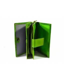 """Kožená peněženka """"Paisley design"""", zelená, ručně malovaná, 13x10cm"""