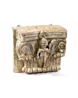Dřevěná polička z mangového dřeva, řezba antik, 35x19x32cm