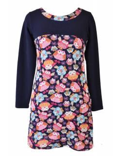 Krátké multibarevné šaty s dlouhým rukávem, design sovy