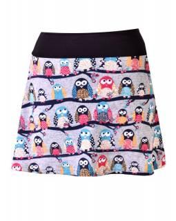 Krátká sukně s potiskem sov