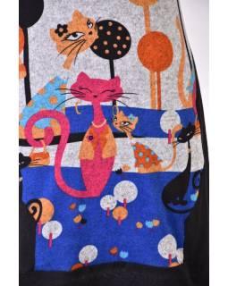 Šedé šaty s designem kočiček, krátkým rukávem