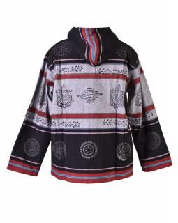 Pánská černo-šedá bunda s kapucí zapínaná na zip, potisk Ganéša, teplá podšívka