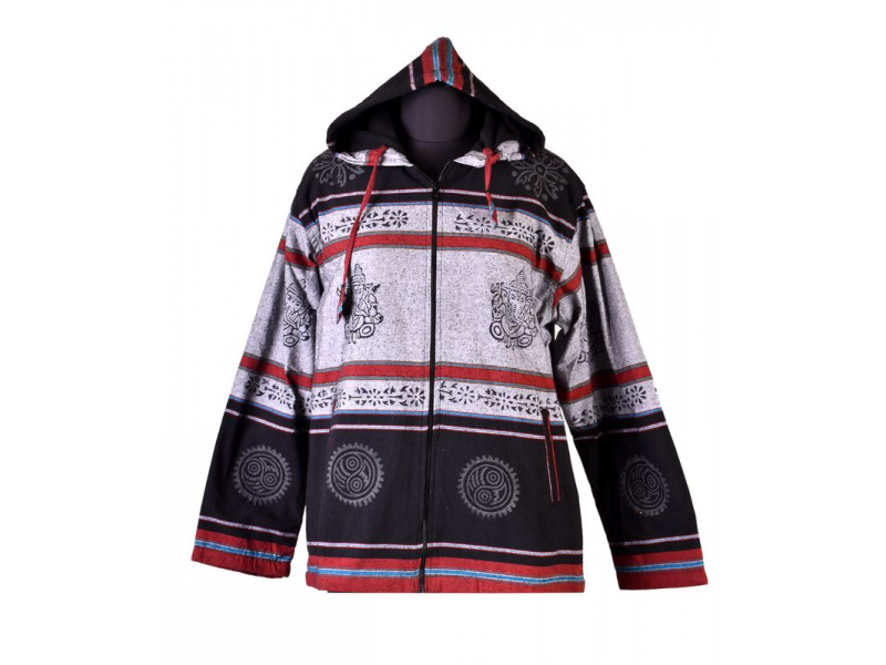 Pánská černo-šedá bunda s kapucí zapínaná na zip, potisk Ganéša