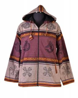 Pánská hnědá bunda s kapucí zapínaná na zip, potisk Óm