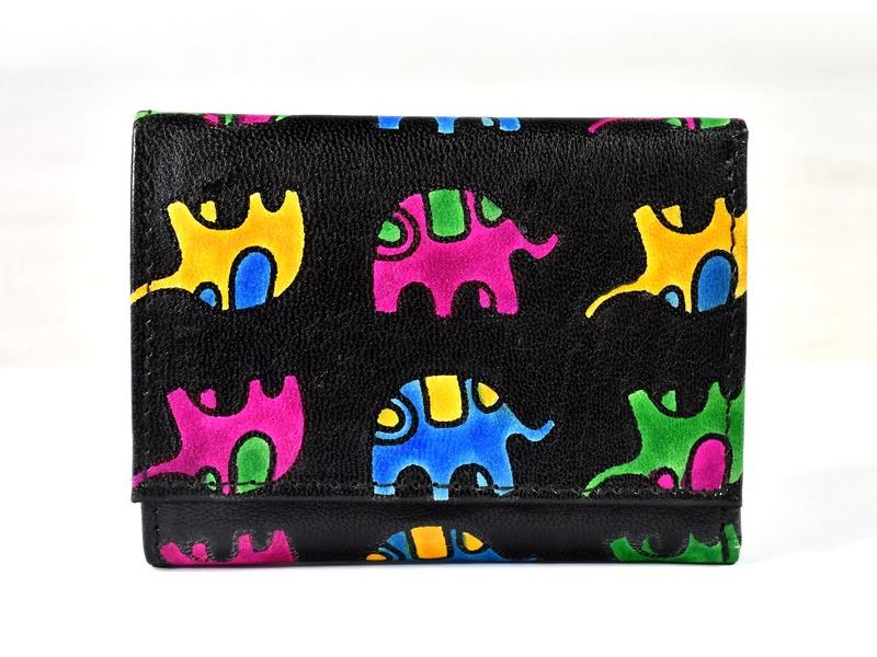 """Malá kožená peněženka """"All elephants"""", černo-tyrkysová, ručně malovaná, 11x9cm"""