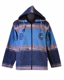 Pánská modrá bunda s kapucí zapínaná na zip, potisk