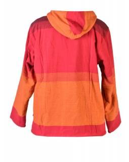 Pánská červeno-oranžová bunda s kapucí zapínaná na zip