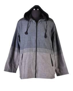 Pánská šedo-černá bunda s kapucí zapínaná na zip