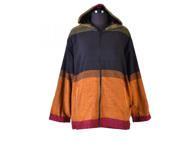 Pánská černo-zeleno-vínová bunda s kapucí zapínaná na zip