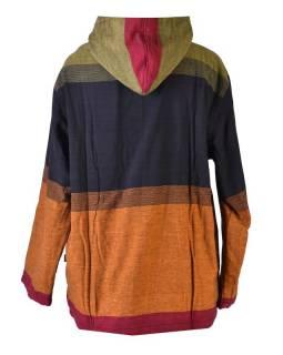 Pánská černo-zeleno-vínová bunda s kapucí, zapínaná na zip, podšívka