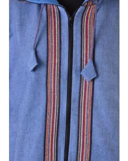 Pánská modrá bunda s kapucí zapínaná na zip