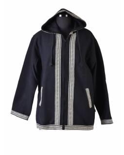 Pánská černo-šedá bunda s kapucí zapínaná na zip