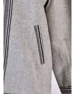 Pánská šedá bunda s kapucí zapínaná na zip
